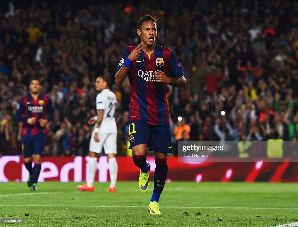 Neymar of Barcelona celebrates as he scores their second goal during the UEFA Champions League Quarter Final second leg match between FC Barcelona and Paris Saint-Germain at Camp Nou on April 21, 2015 in Barcelona, Spain.