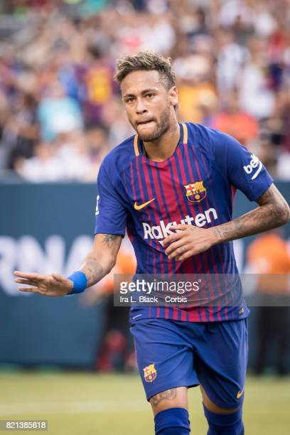 Neymar of Barcelona celebrates his goal during the International Champions Cup match between FC Barcelona and Juventus at the MetLife Stadium on July...