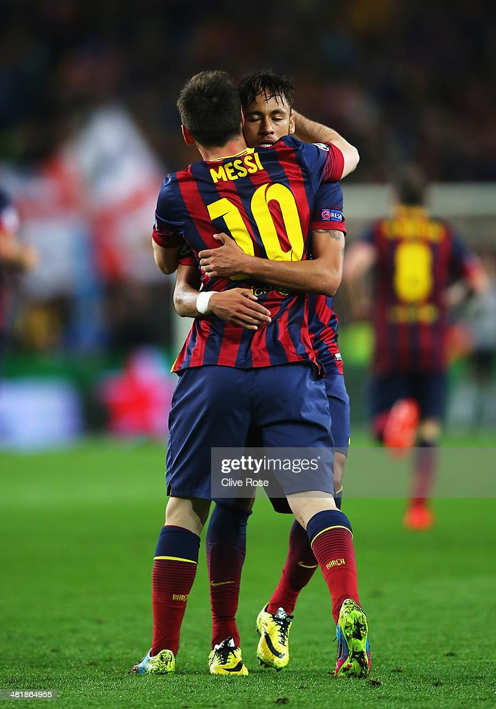 Neymar of Barcelona celebrates his goal with Lionel Messi of Barcelona during the UEFA Champions League Quarter Final first leg match between FC Barcelona and Club Atletico de Madrid at Camp Nou on April 1, 2014 in Barcelona, Spain.