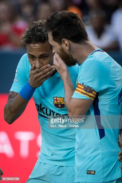 Neymar of Barcelona celebrates his goal with Lionel Messi of Barcelona during the International Champions Cup match between FC Barcelona and...