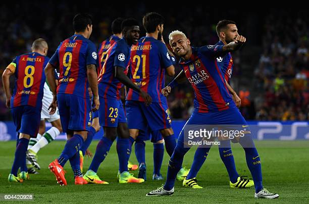 Neymar of Barcelona celebrates scoring his sides third goal during the UEFA Champions League Group C match between FC Barcelona and Celtic FC at Camp...