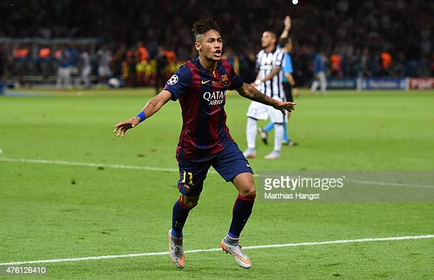 Neymar of Barcelona celebrates scoring his team's third goal during the UEFA Champions League Final between Juventus and FC Barcelona at...