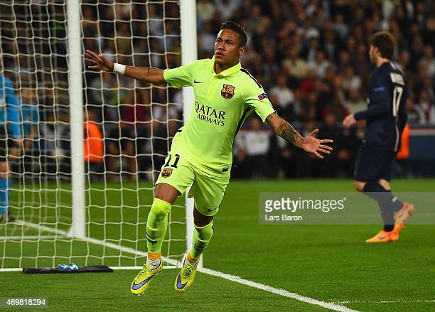 Neymar of Barcelona celebrates scoring the opening goal during the UEFA Champions League Quarter Final First Leg match between Paris SaintGermain and...