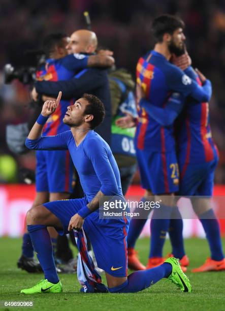Neymar of Barcelona celebrates victory after the UEFA Champions League Round of 16 second leg match between FC Barcelona and Paris SaintGermain at...