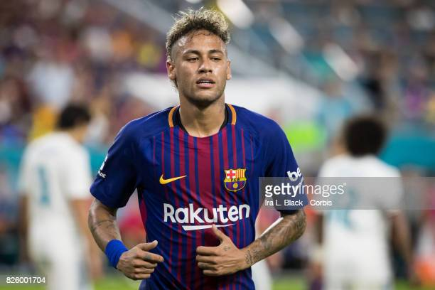 Neymar of Barcelona comes over for the corner kick during the International Champions Cup El Clásico match between FC Barcelona and Real Madrid at...