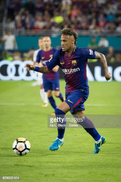Neymar of Barcelona drives to the goal during the International Champions Cup El Clásico match between FC Barcelona and Real Madrid at the Hard Rock...