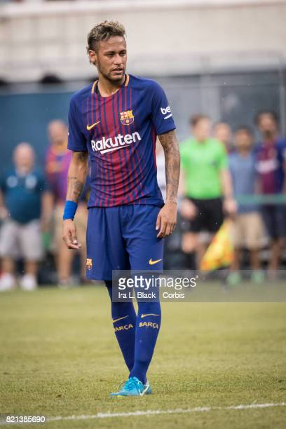 Neymar of Barcelona eyes up the penalty kick shot during the International Champions Cup match between FC Barcelona and Juventus at the MetLife...