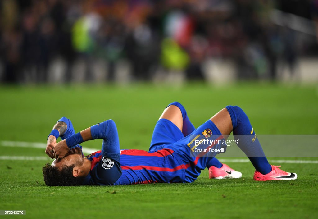 Neymar of Barcelona is dejected after the UEFA Champions League Quarter Final second leg match between FC Barcelona and Juventus at Camp Nou on April 19, 2017 in Barcelona, Spain.