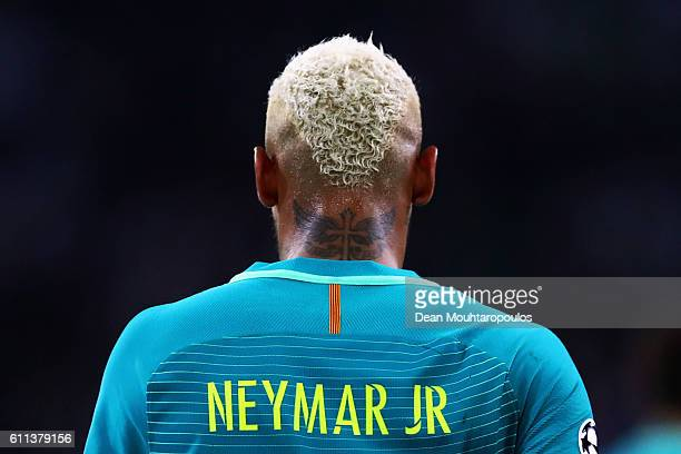 Neymar of Barcelona looks on during the UEFA Champions League group C match between VfL Borussia Moenchengladbach and FC Barcelona at BorussiaPark on...