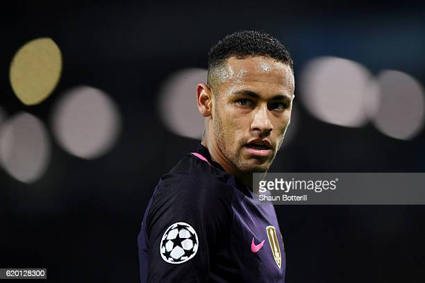 Neymar of Barcelona looks on during the UEFA Champions League Group C match between Manchester City FC and FC Barcelona at Etihad Stadium on November...
