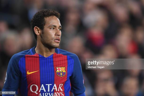 Neymar of Barcelona looks on during the UEFA Champions League Round of 16 second leg match between FC Barcelona and Paris Saint-Germain at Camp Nou...