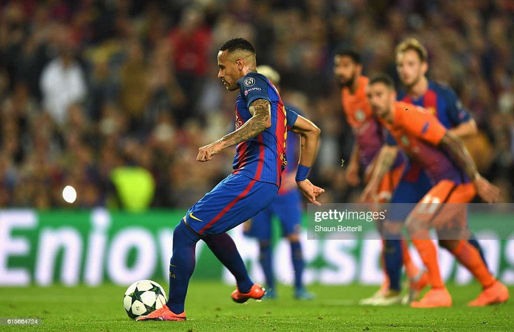 Neymar of Barcelona misses a penalty during the UEFA Champions League group C match between FC Barcelona and Manchester City FC at Camp Nou on October 19, 2016 in Barcelona, Spain.