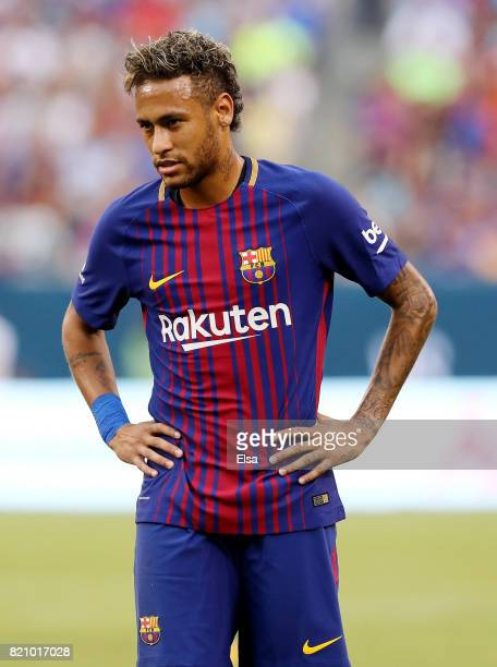 Neymar of Barcelona reacts to a missed shot in the first half against Juventus during the International Champions Cup 2017 on July 22 2017 at MetLife...