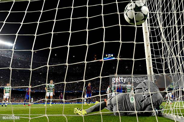 Neymar of Barcelona scores his sides third goal during the UEFA Champions League Group C match between FC Barcelona and Celtic FC at Camp Nou on...