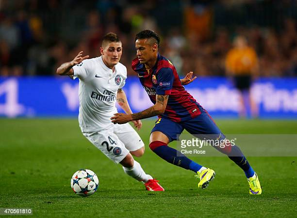Neymar of Barcelona takes on Marco Verratti of PSG during the UEFA Champions League Quarter Final second leg match between FC Barcelona and Paris...