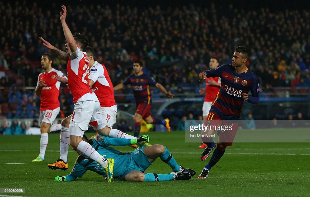 Neymar of Barcelona turns after he scores during the UEFA Champions League Round of 16 Second Leg match between FC Barcelona and Arsenal FC at Camp Nou on March 16, 2016 in Barcelona,Spain.