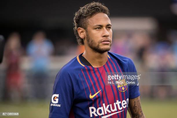 Neymar of Barcelona with the new Rakuten jersey at the start of the International Champions Cup match between FC Barcelona and Juventus at the...