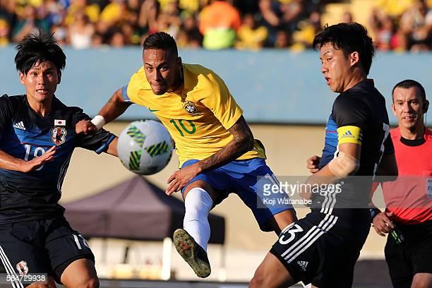 Neymar of Brazil a shot during the international friendly match between Japan and Brazil at the Estadio Serra Dourada on July 30 2016 in Goiania...