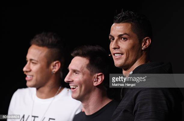 Neymar of Brazil and FC Barcelona Lionel Messi of Argentina and FC Barcelona and Cristiano Ronaldo of Portugal and Real Madrid pose for a photo after...