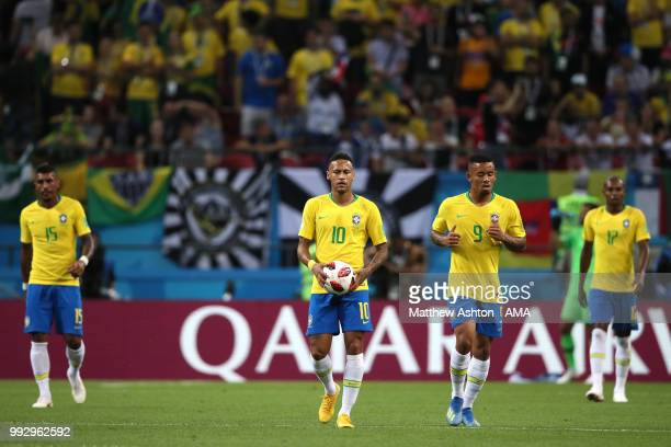 Neymar of Brazil and his teammates look dejected after Fernandinho of Brazil scored an own goal to make it 01 during the 2018 FIFA World Cup Russia...