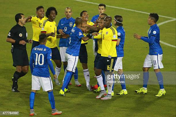 Neymar of Brazil argue with players of Colombia during the 2015 Copa America Chile Group C match between Brazil and Colombia at Monumental David...