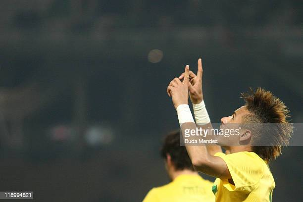 Neymar of Brazil celebrates a scored goal against Ecuador during a match as part of Group B of Copa America 2011 at the Mario Kempes Stadium on July...