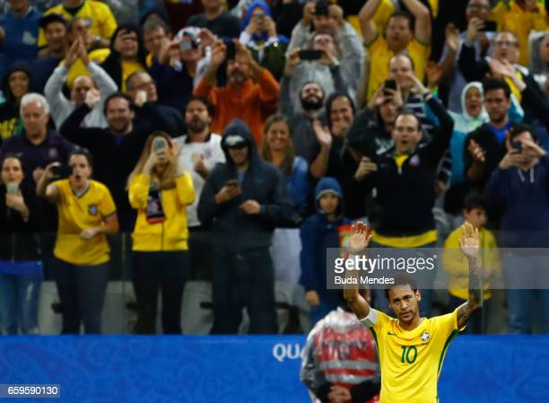 Neymar of Brazil celebrates a scored goal against Paraguay during a match between Brazil and Paraguay as part of 2018 FIFA World Cup Russia Qualifier...