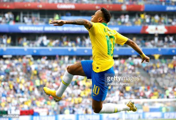 Neymar of Brazil celebrates after scoring a goal during the 2018 FIFA World Cup Russia Round of 16 match between Brazil and Mexico at the Samara...