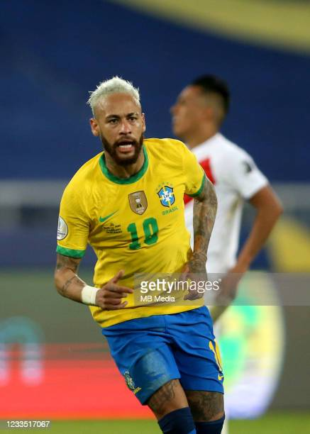 Neymar of Brazil celebrates after scoring a goal during the match between Brazil and Peru as part of the Conmebol Copa America Brazil 2021 at Estadio...