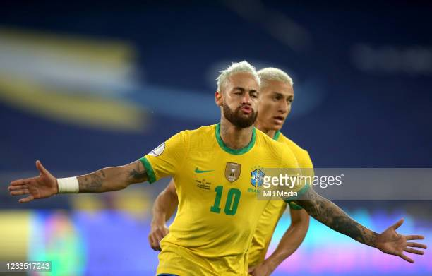Neymar of Brazil celebrates after scoring a goal with team mate Richarlison during the match between Brazil and Peru as part of the Conmebol Copa...