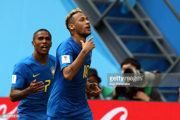 Neymar of Brazil celebrates after scoring his team's second goal during the 2018 FIFA World Cup Russia group E match between Brazil and Costa Rica at...