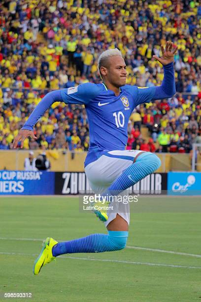 Neymar of Brazil celebrates after scoring the first goal of his team during a match between Ecuador and Brazil as part of FIFA 2018 World Cup...