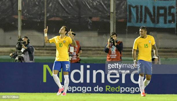 Neymar of Brazil celebrates after scoring the third goal of his team during a match between Uruguay and Brazil as part of FIFA 2018 World Cup...