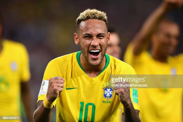 Neymar of Brazil celebrates after the 2018 FIFA World Cup Russia group E match between Serbia and Brazil at Spartak Stadium on June 27 2018 in Moscow...