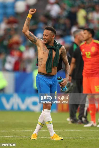 Neymar of Brazil celebrates at the end of the 2018 FIFA World Cup Russia Round of 16 match between Brazil and Mexico at Samara Arena on July 2, 2018...