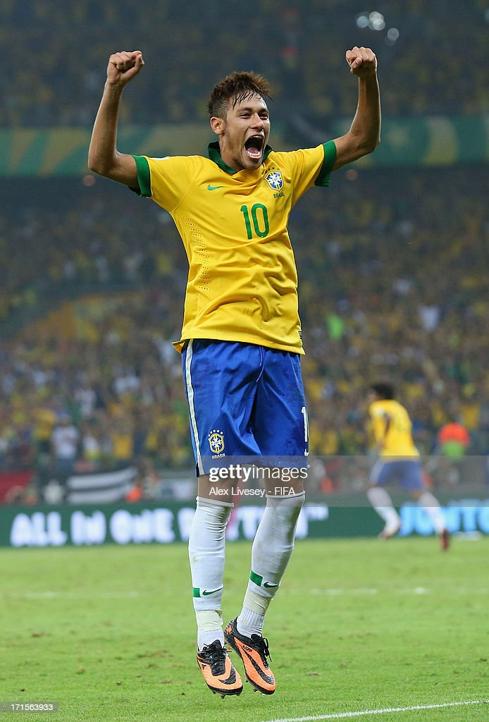 Neymar of Brazil celebrates at the end of the FIFA Confederations Cup Brazil 2013 Semi Final match between Brazil and Uruguay at Governador Magalhaes Pinto Estadio Mineirao on June 26, 2013 in Belo Horizonte, Brazil.