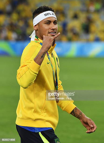 Neymar of Brazil celebrates at the Olympic Men's Final Football match between Brazil and Germany at Maracana Stadium on August 20 2016 in Rio de...