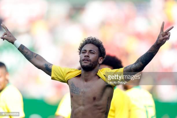 Neymar of Brazil celebrates his goal against Austria during an International Friendly match at Ernst Happel Stadium on June 10 2018 in Vienna Austria