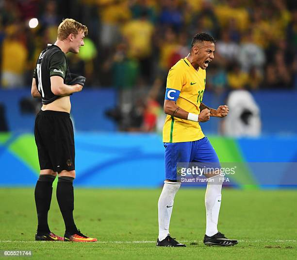 Neymar of Brazil celebrates his goal during the Olympic Men's Final Football match between Brazil and Germany at Maracana Stadium on August 20 2016...