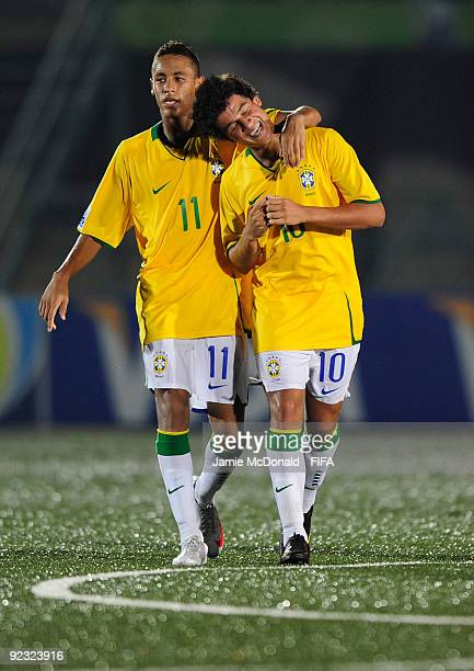 Neymar of Brazil celebrates his goal with Coutinho during the FIFA U17 World Cup match between Brazil and Japan at the Teslim Balogun Stadium on...