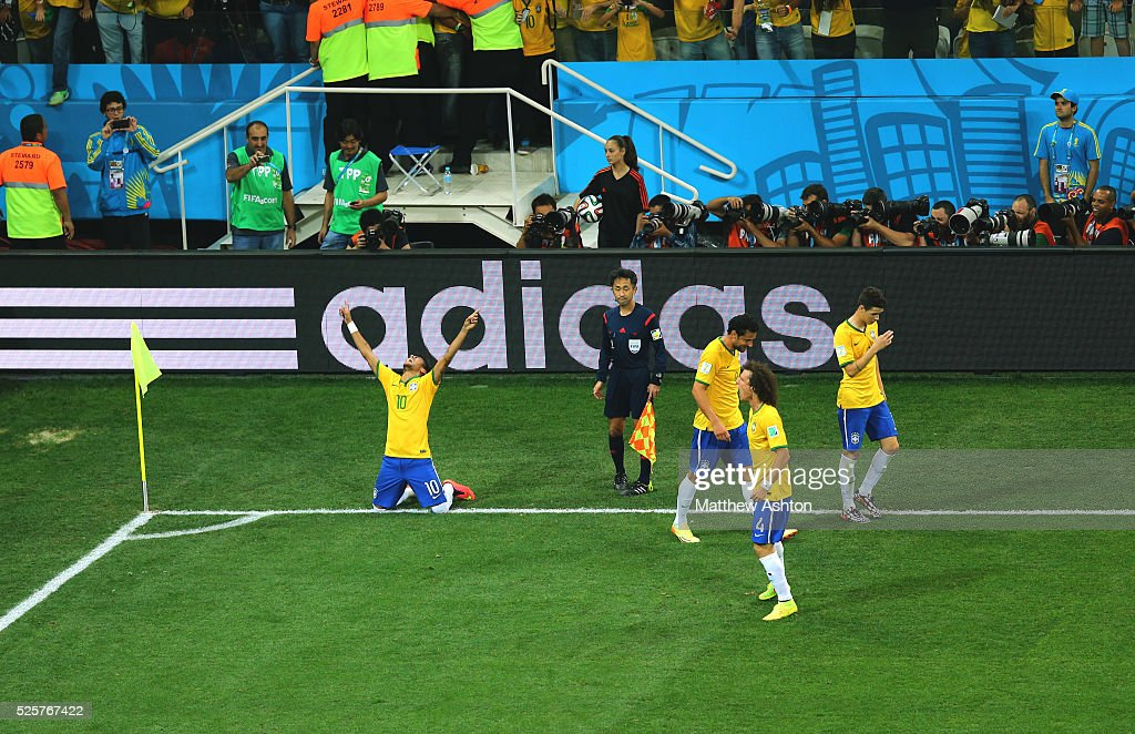 Neymar Of Brazil Celebrates In Front Of An Adidas Advertising Led News Photo Getty Images