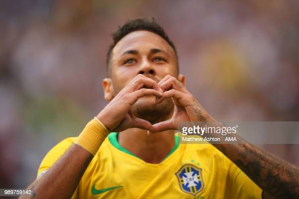 Neymar of Brazil celebrates scoring a goal to make it 10 during the 2018 FIFA World Cup Russia Round of 16 match between Brazil and Mexico at Samara...