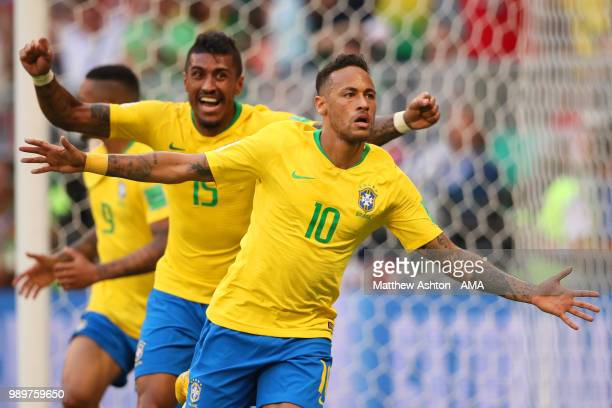 Neymar of Brazil celebrates scoring a goal to make it 1-0 during the 2018 FIFA World Cup Russia Round of 16 match between Brazil and Mexico at Samara...