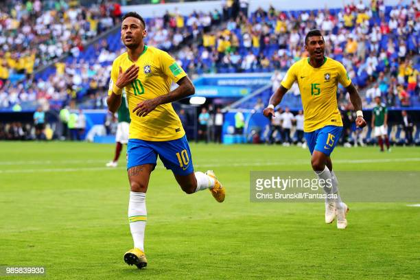 Neymar of Brazil celebrates scoring the opening goal during the 2018 FIFA World Cup Russia Round of 16 match between 1st Group E and 2nd Group F at...