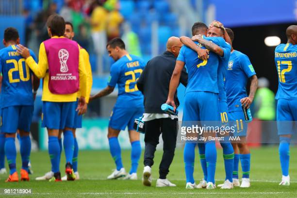 Neymar of Brazil celebrates with Thiago Silva at the end of the 2018 FIFA World Cup Russia group E match between Brazil and Costa Rica at Saint...
