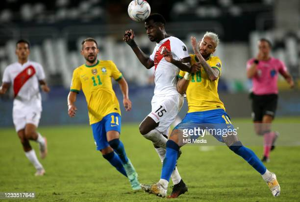 Neymar of Brazil competes for the ball with Christian Ramos of Peru during the match between Brazil and Peru as part of Conmebol Copa America Brazil...