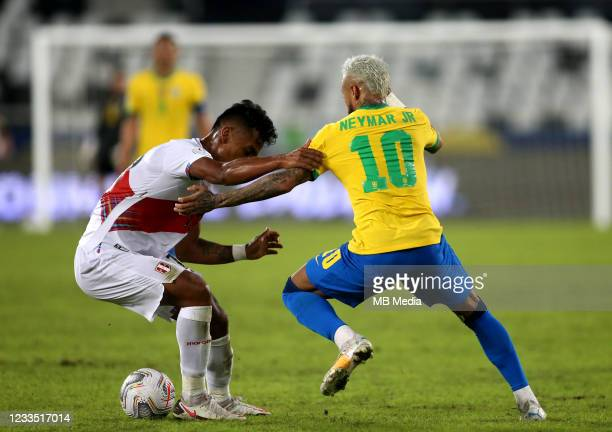 Neymar of Brazil competes for the ball with Renato Tapia of Peru during the match between Brazil and Peru as part of the Conmebol Copa America Brazil...