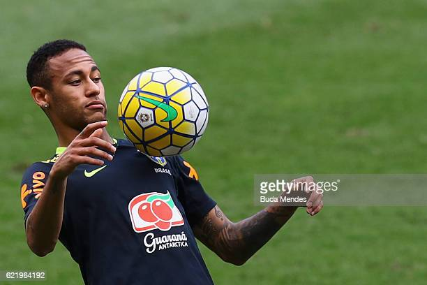 Neymar of Brazil controls the ball during a training session at Mineirao Stadium on November 9 2016 in Belo Horizonte Brazil