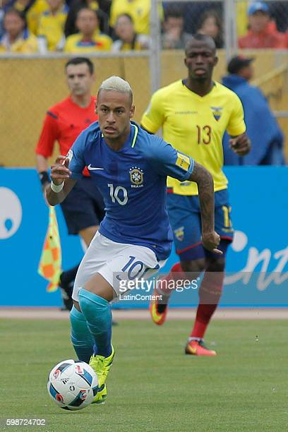 Neymar of Brazil drives the ball during a match between Ecuador and Brazil as part of FIFA 2018 World Cup Qualifiers at Olimpico Atahualpa Stadium on...