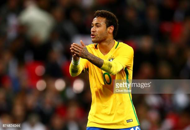 Neymar of Brazil during the International Friendly match between England and Brazil at Wembley Stadium on November 14 2017 in London England
